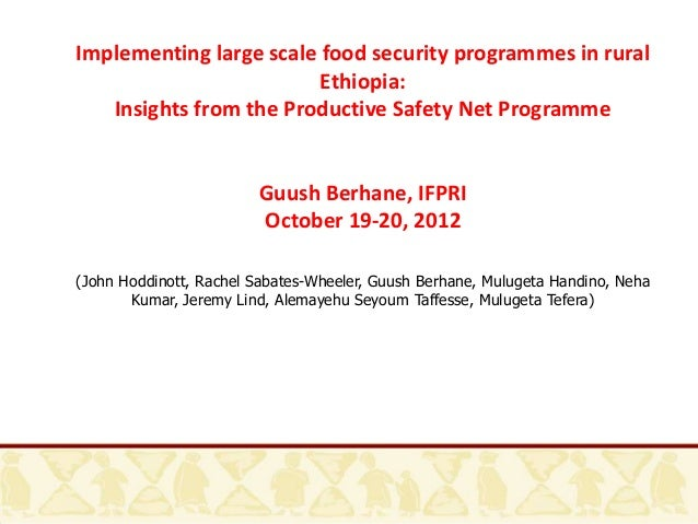 Implementing large scale food security programmes in rural                         Ethiopia:   Insights from the Productiv...