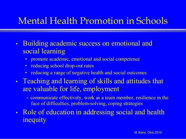 Implementing Mental Health Promotion In Schools
