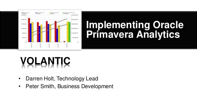 Implementing OraclePrimavera Analytics• Darren Holt, Technology Lead• Peter Smith, Business DevelopmentVOLANTIC