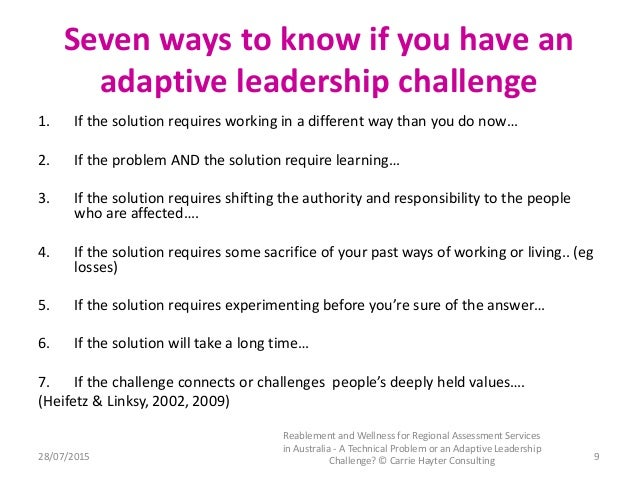 implementation of adaptive leadership essay Adaptive leadership this perspective from the boston consulting group's strategy in-stitute is the seventh in a series exploring the future of strategy enterprise, an essay in foreign affairs, hierarchical, com.