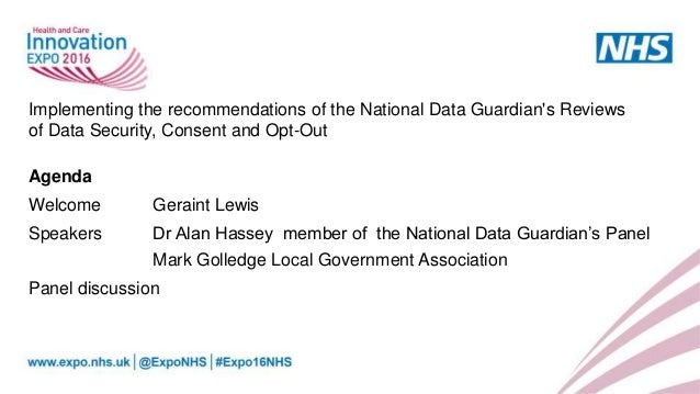 Implementing the recommendations of the national data