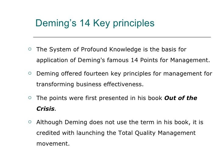 deming s philosophy Quality principles of deming,  lean is basically a philosophy  if you have a dynamic personality and have completed your master's or phd and can conduct an.