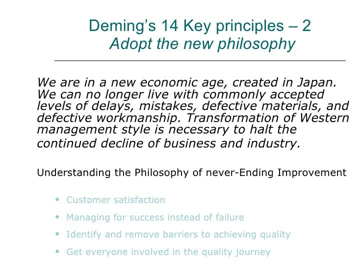 deming s philosophy Application of the deming philosophy to higher education aaron w hughey a brief overview of the historical significance of the work of w edwards.