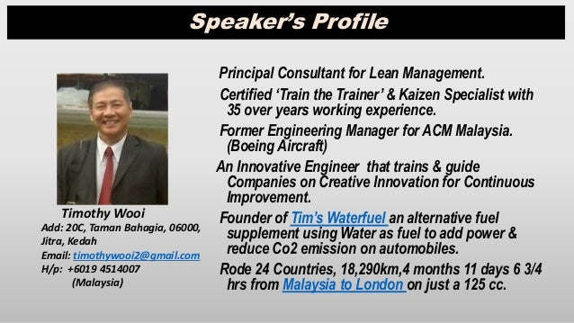 Principal Consultant for Lean Management. Certified 'Train the Trainer' & Kaizen Specialist with 35 over years working exp...
