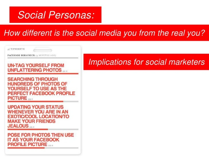 Social Personas:<br />How different is the social media you from the real you?<br />Implications for social marketers<br />