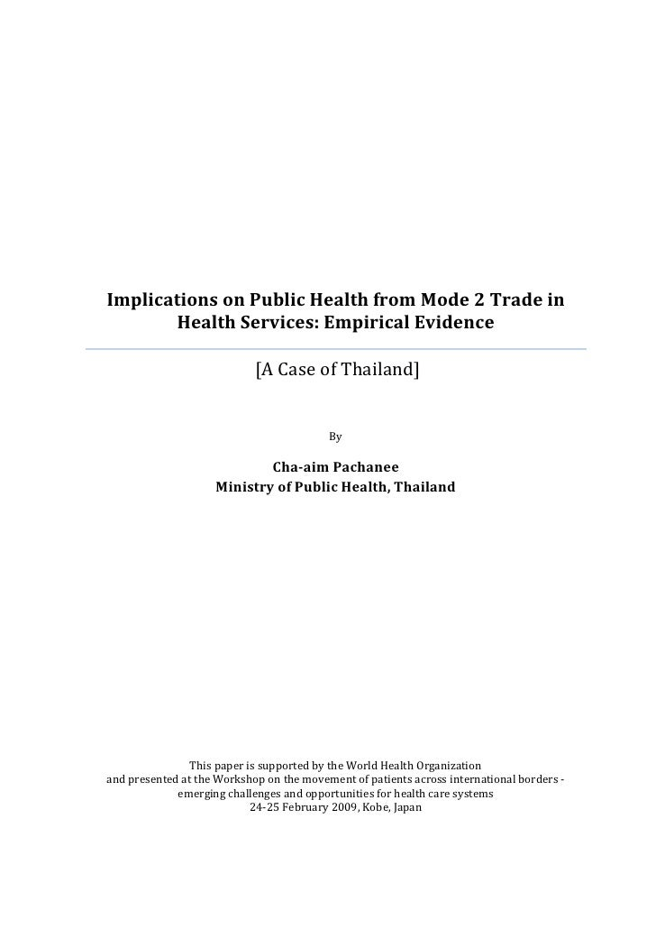 Implications on Public Health from Mode 2 Trade in        Health Services: Empirical Evidence                            [...