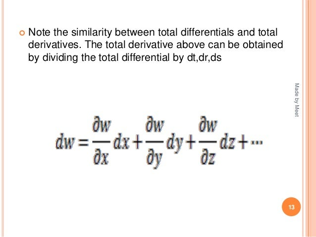 relationship between differentials and derivatives of functions