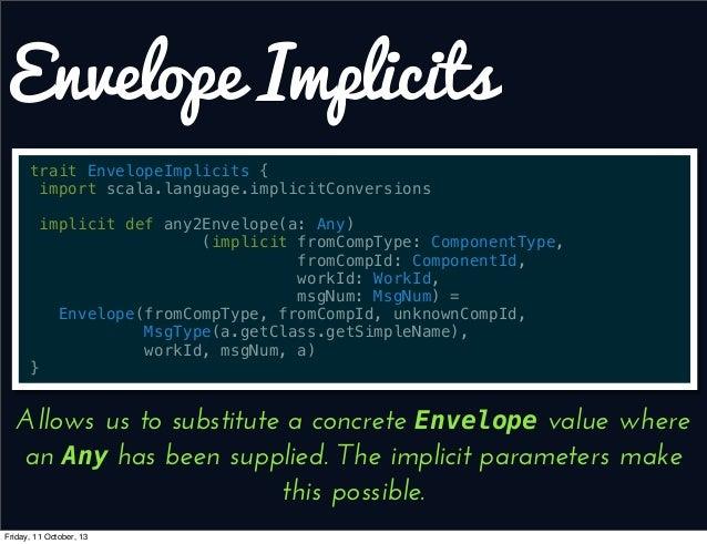Envelope Implicits trait EnvelopeImplicits { import scala.language.implicitConversions implicit def any2Envelope(a: Any) (...