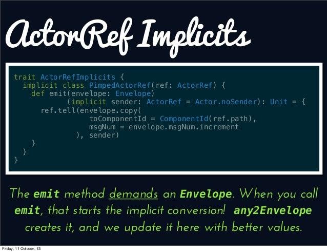 ActorRef Implicits trait ActorRefImplicits { implicit class PimpedActorRef(ref: ActorRef) { def emit(envelope: Envelope) (...