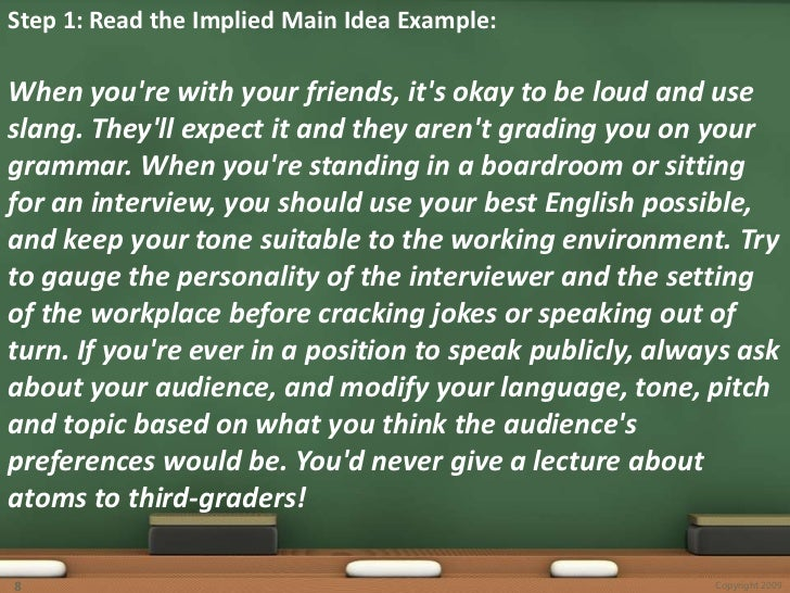 Implied Main Idea – Implied Main Idea Worksheet