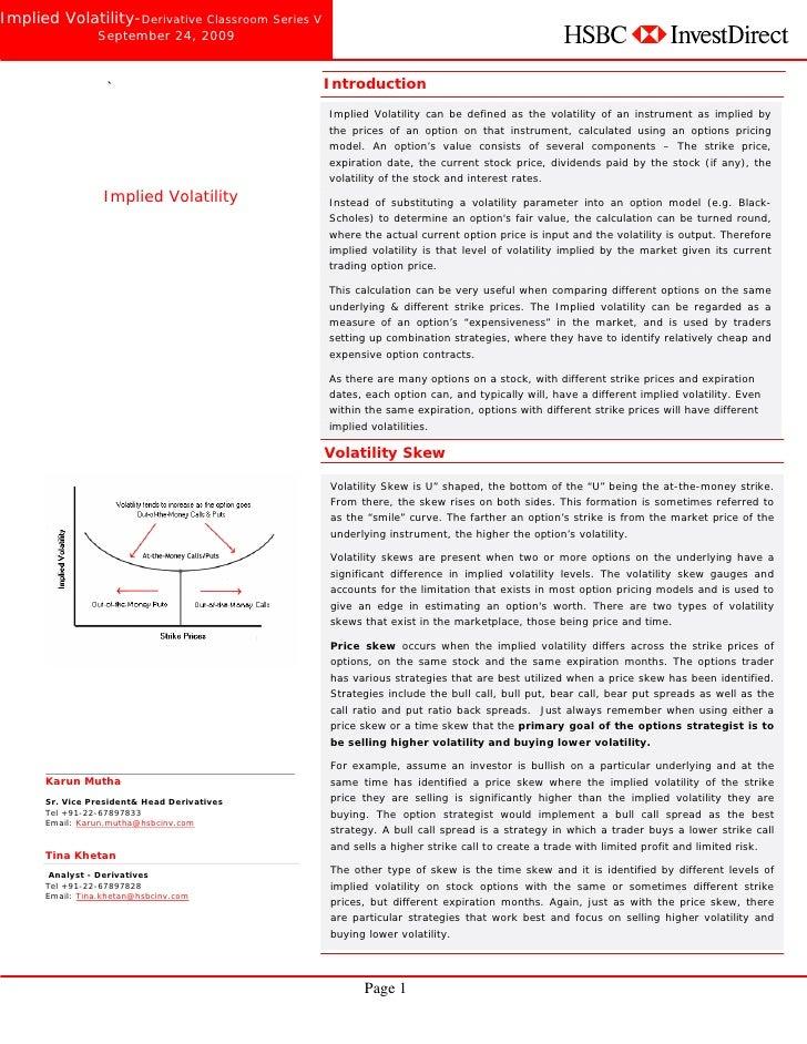 Implied Volatility-Derivative Classroom Series V                    September 24, 2009        Derivative Classroom -Series...
