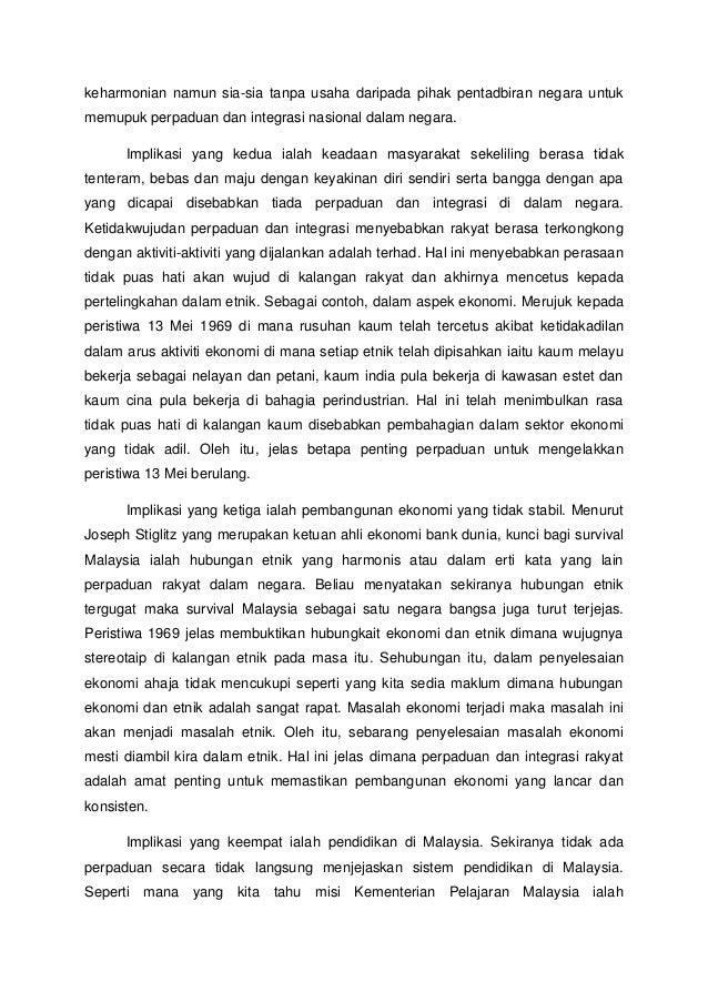 Implikasi Tidak Wujud Perpaduan Kaum Dan Integrasi Nasional Di Malays