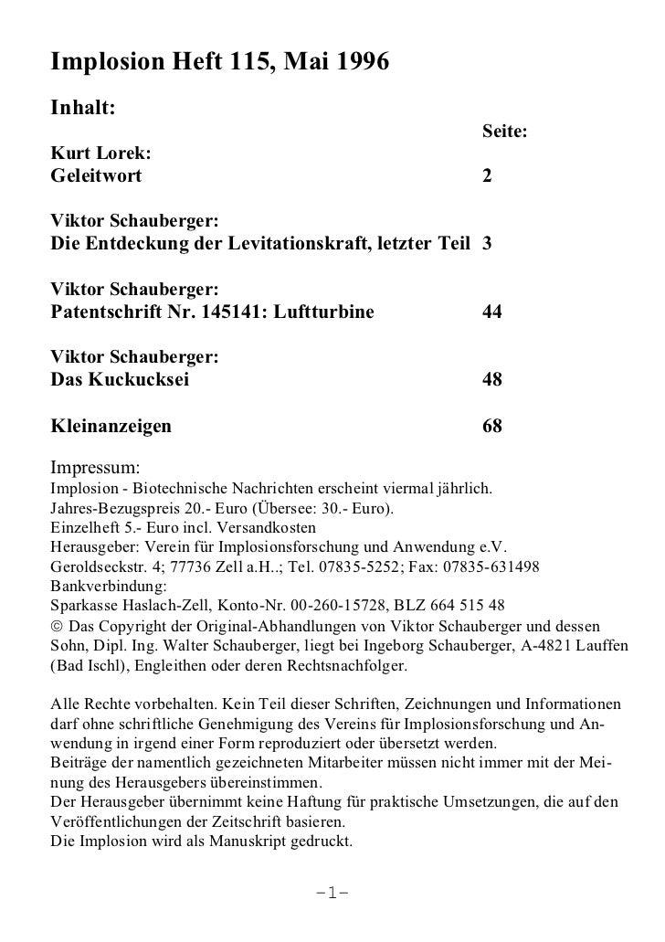 Implosion Heft 115, Mai 1996Inhalt:                                                              Seite:Kurt Lorek:Geleitwo...