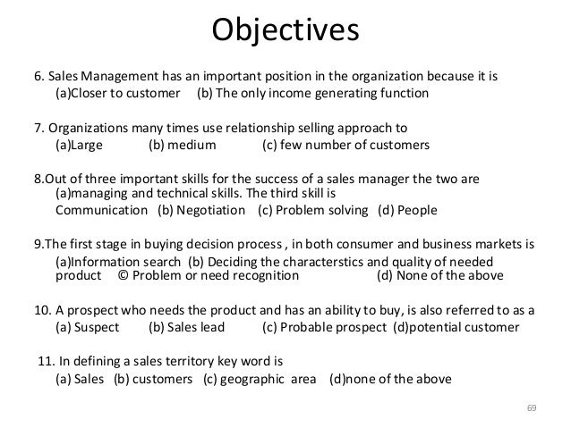 sales manager objective
