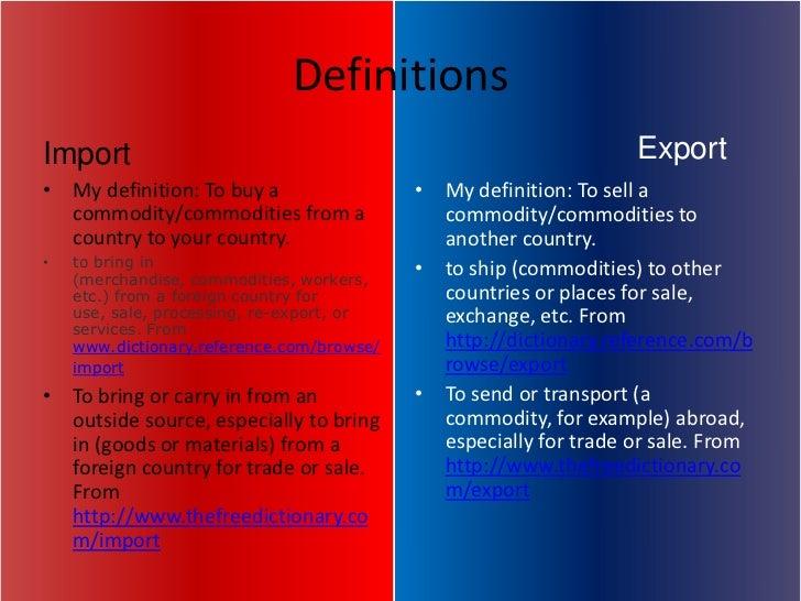 exporting and importing term papers The term trade-based money laundering and terrorist financing by paper or electronically, on its import-export forms or supporting documentation2 for example other business unit organised and operated principally for the purpose of importing or exporting goods and services.
