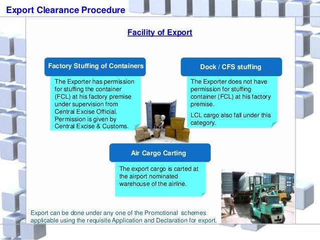 Facility of Export Factory Stuffing of Containers Air Cargo Carting Dock / CFS stuffing The Exporter has permission for st...
