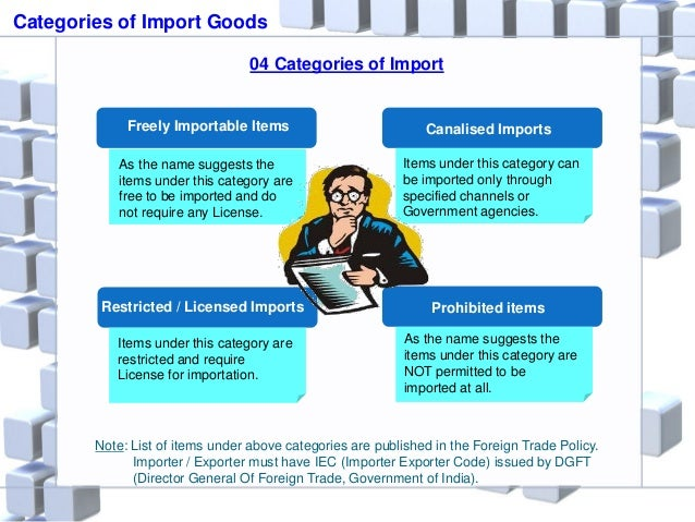 Categories of Import Goods 04 Categories of Import Freely Importable Items Restricted / Licensed Imports Prohibited items ...