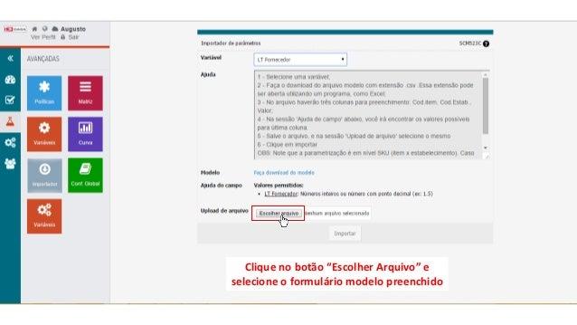 """Clique no botão """"Escolher Arquivo"""" e selecione o formulário modelo preenchido"""