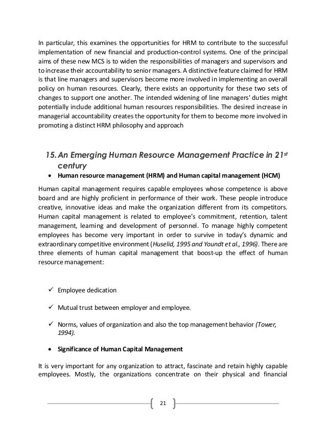 Importance Of Human Resource Management In 21st Century
