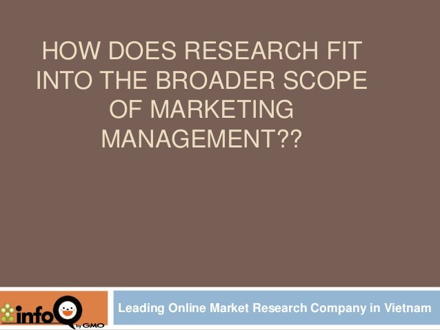 HOW DOES RESEARCH FIT INTO THE BROADER SCOPE OF MARKETING MANAGEMENT??  Leading Online Market Research Company in Vietnam