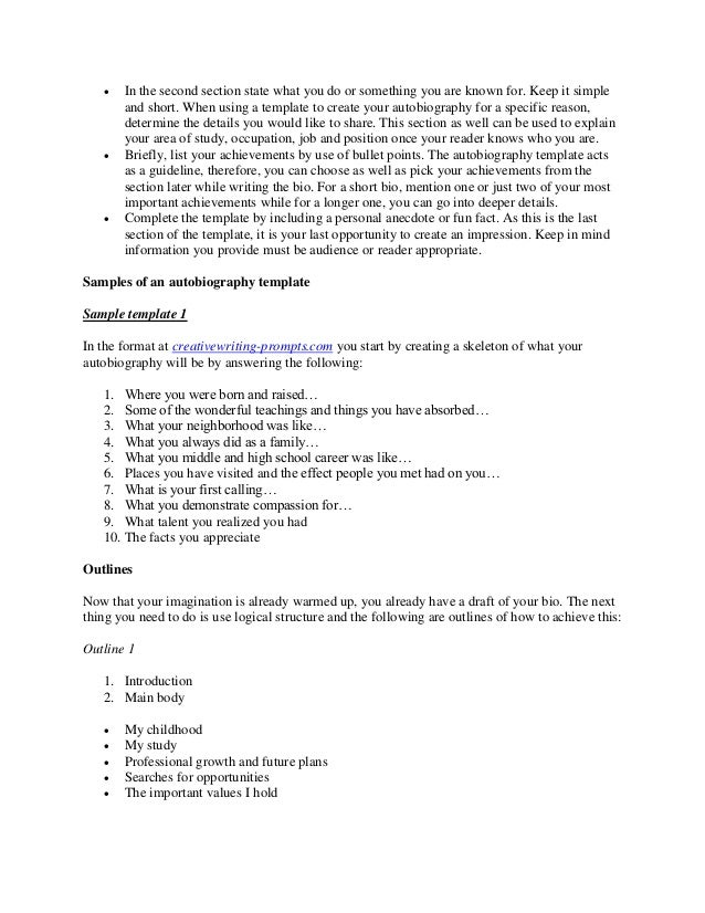 Importance of an autobiography template and samples you can refer to – Autobiography Template