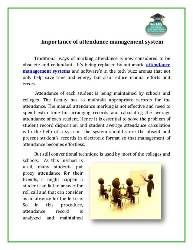 disadvantages of college attendance managment record Free disadvantages of fingerprint time attendance time attendance management by: new way to track your employee's time or manage your payroll records.