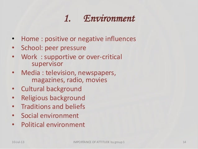 1. Environment • Home : positive or negative influences • School: peer pressure • Work : supportive or over-critical super...