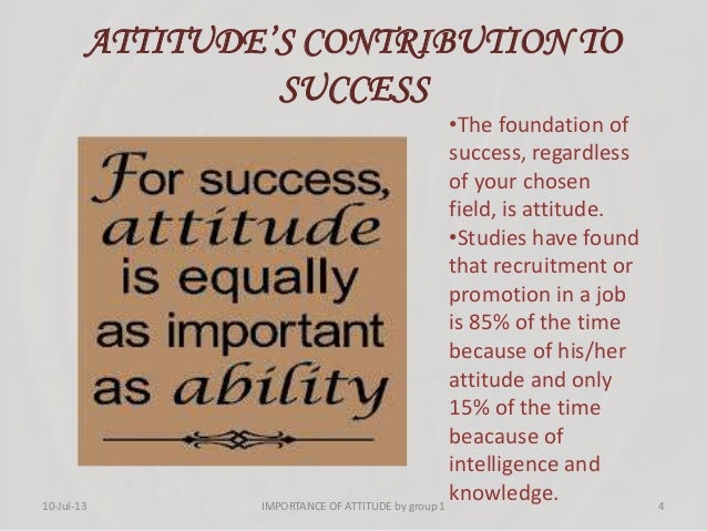 ATTITUDE'S CONTRIBUTION TO SUCCESS •The foundation of success, regardless of your chosen field, is attitude. •Studies have...