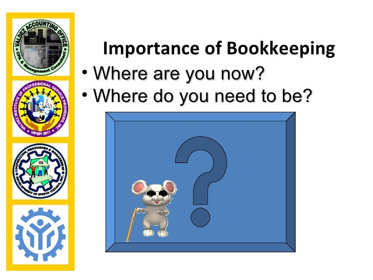 Importance of Bookkeeping• Where are you now?• Where do you need to be?