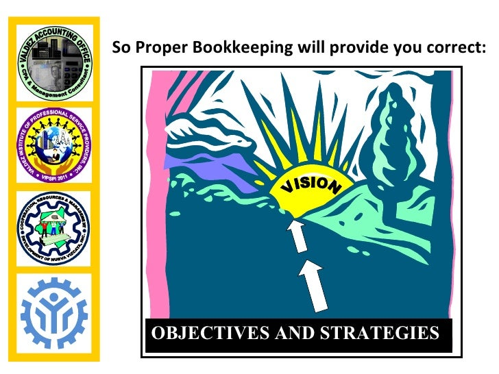 So Proper Bookkeeping will provide you correct:    OBJECTIVES AND STRATEGIES