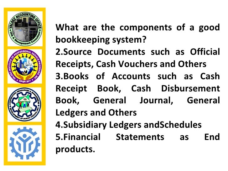 What are the components of a goodbookkeeping system?2.Source Documents such as OfficialReceipts, Cash Vouchers and Others3...