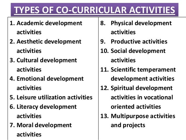 essay co curricular activities students Why students should get involved in co-curricular activities as we all know, college admissions have gotten more and more competitive over the years.
