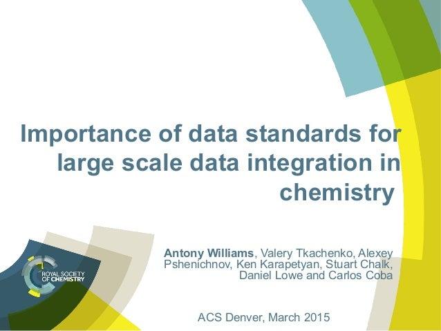 Importance of data standards for large scale data integration in chemistry Antony Williams, Valery Tkachenko, Alexey Pshen...