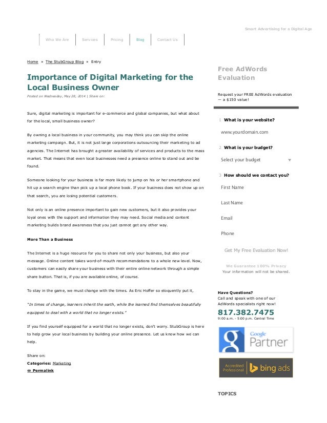 Smart Advertising for a Digital Age StubGro Home » The StubGroup Blog » Entry Importance of Digital Marketing for the Loca...