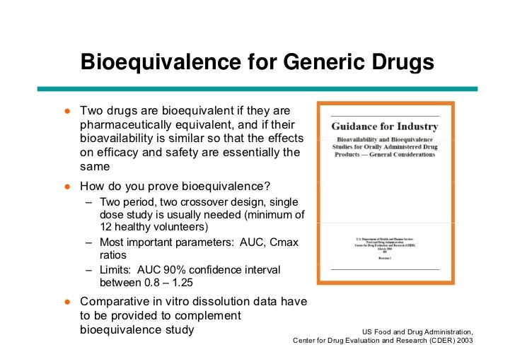 the importance of bioequivalence The number of subjects required for a sound bioequivalence study is determined by the error variance associated with the primary parameters to be studied (as estimated from a pilot experiment, from previous studies or from published data), by the significance level desired, and by the deviation from the reference product.