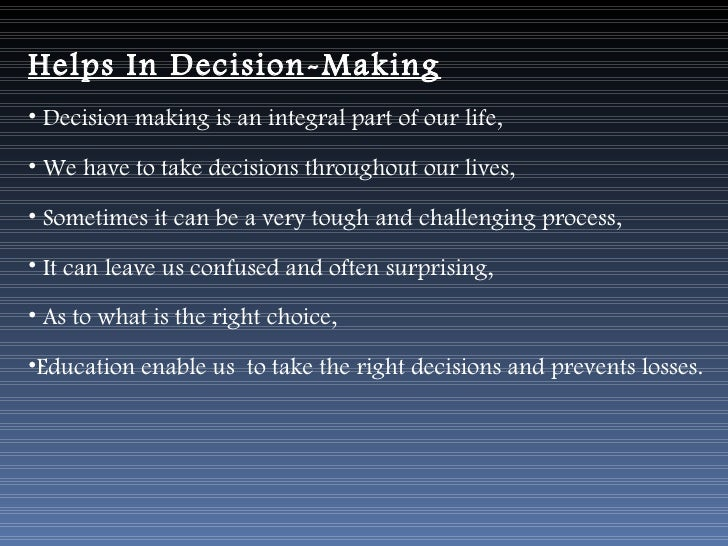importance of decision making in our life