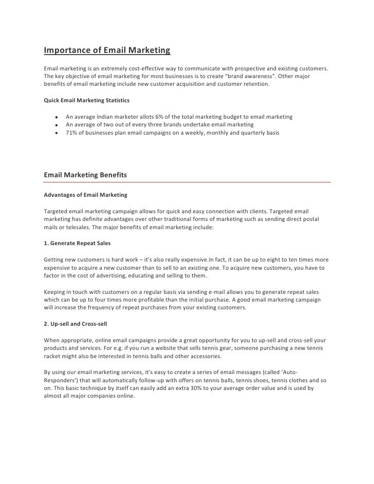 Importance of Email MarketingEmail marketing is an extremely cost-effective way to communicate with prospective and existi...