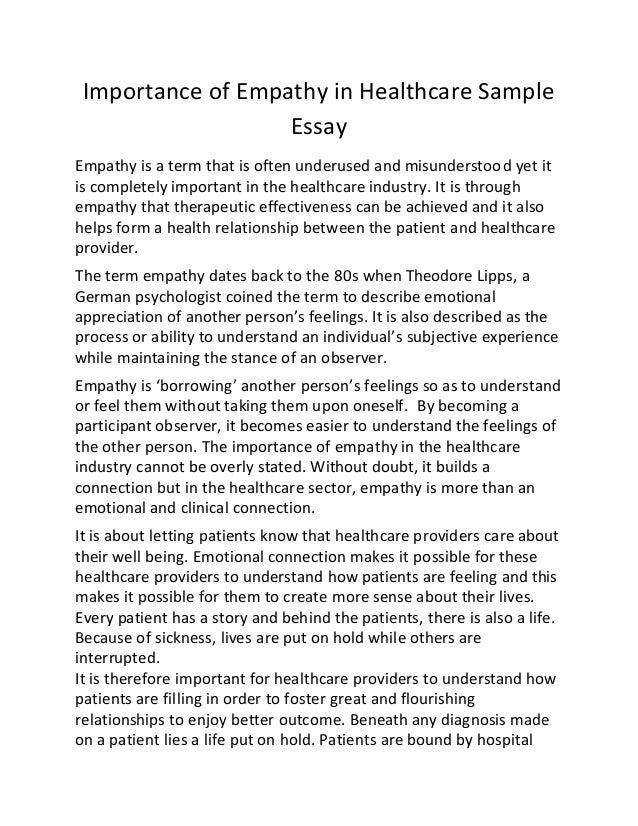 Comparison Contrast Essay Example Paper Importance Of Empathy In Healthcare Sample Essay Empathy Is A Term That Is  Often Underused And  High School Essays Samples also Essay Thesis Examples Importance Of Empathy In Healthcare Sample Essay Short Essays In English