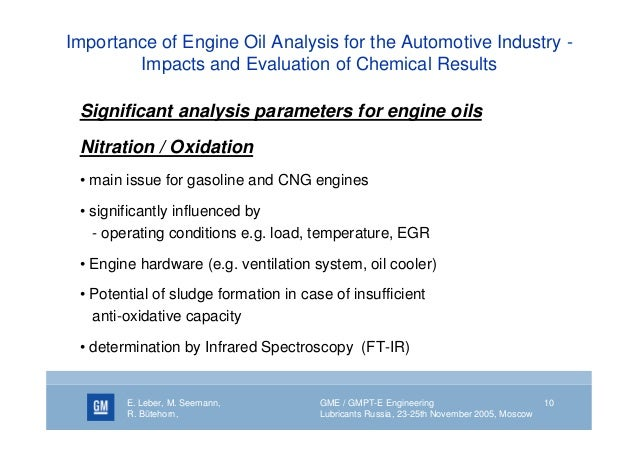 An analysis and a comparison of gasoline and motor oil