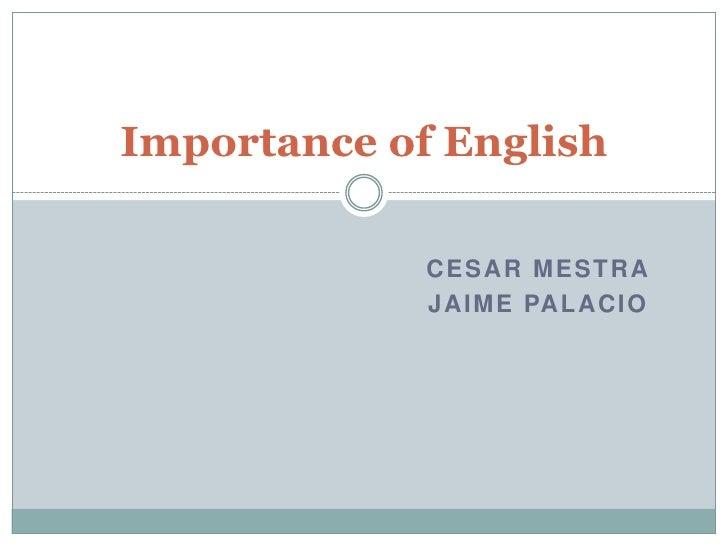 Cesar Mestra<br />Jaime palacio<br />Importance of English<br />