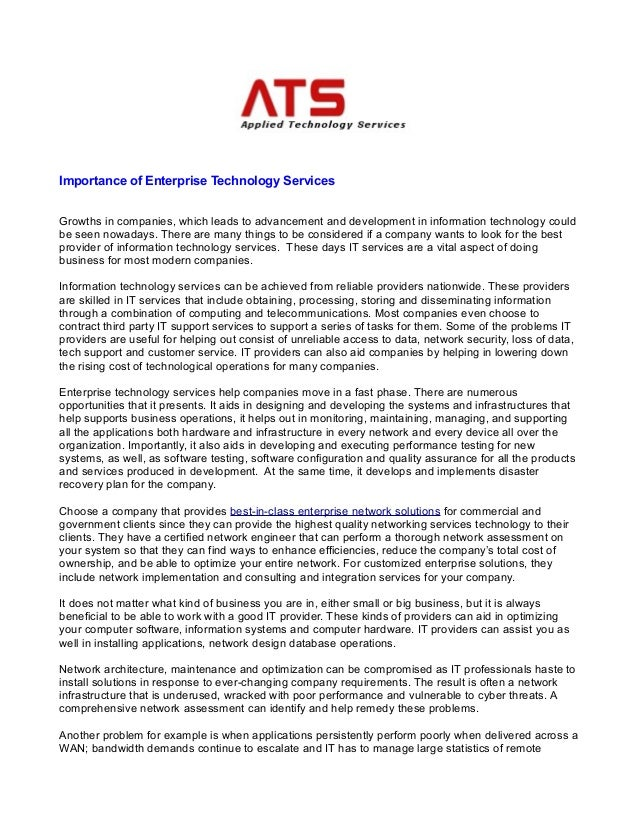 Importance of enterprise technology services