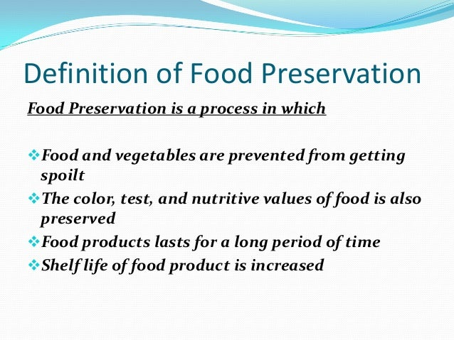 Importance of food preservation for Cuisine meaning