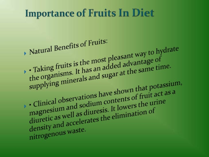 Importance of fruits in diet