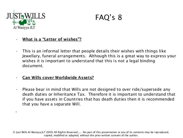 Letter Of Wishes To Executors Sample