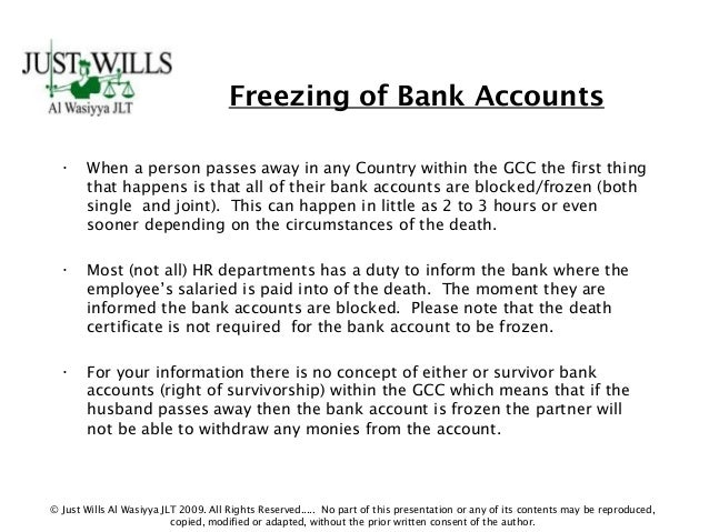 Importance of having a will 7 freezing of bank accounts spiritdancerdesigns Images
