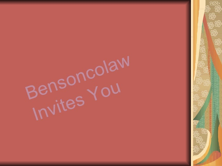 Bensoncolaw Invites You