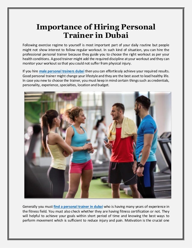 Importance Of Hiring Personal Trainer In Dubai