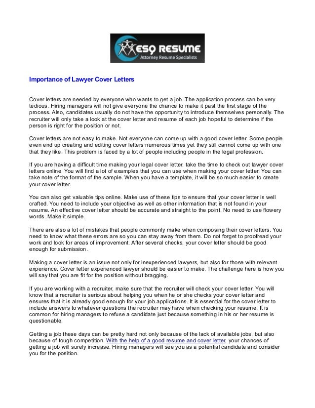 Importance Of Lawyer Cover LettersCover Letters Are Needed By Everyone Who  Wants To Get A Job ...