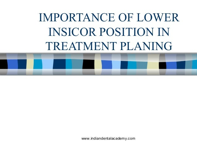 IMPORTANCE OF LOWER INSICOR POSITION IN TREATMENT PLANING  www.indiandentalacademy.com