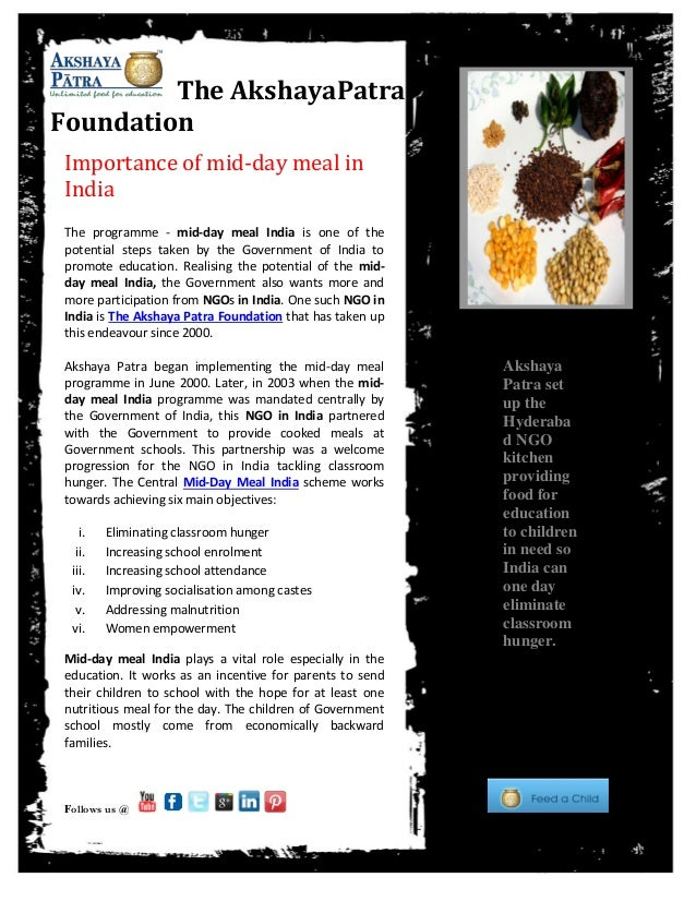 Subhead. Subhead. Subhead. Subhead. Subhead. The AkshayaPatra Foundation Importance of mid-day meal in India The programme...